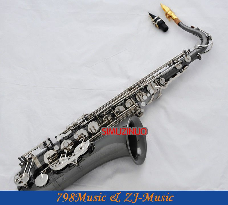 Professional Black Nickel Silver Tenor Saxophone High F# Engraving Sax With Case professional red antique alto saxophone sax high f engraving with case