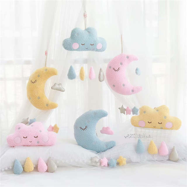Nordic Cloud Moon Soft Stuffed Toys Wall Decoration Pink Grey Baby