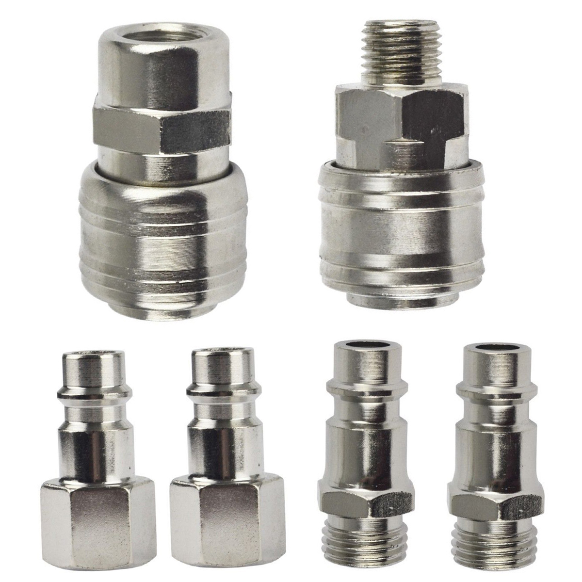 6pcs 1/4 BSP Euro Quick Coupler High Hardness Air Hose Compressor Fittings Male/Femal Quick Release Connector