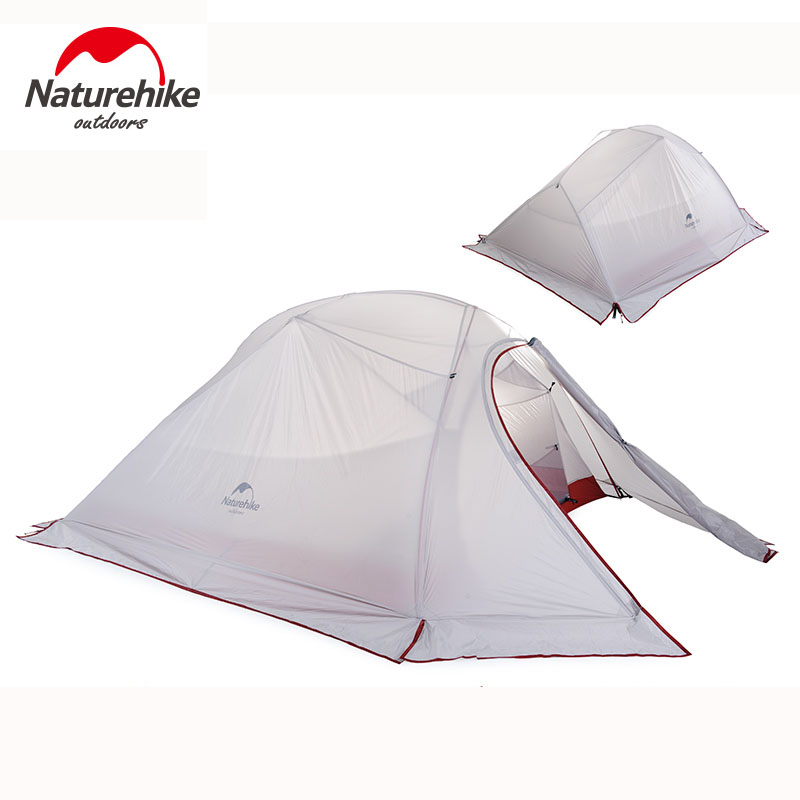 Naturehike 210T/20D Silicone Fabric Ultralight 3 Person Camping Tents 4 Season Double-layer Travel Tent 1.8KG With Free Mat naturehike 1 person camping tent with mat 3 season 20d silicone 210t polyester fabric double layer outdoor rainproof camp tent