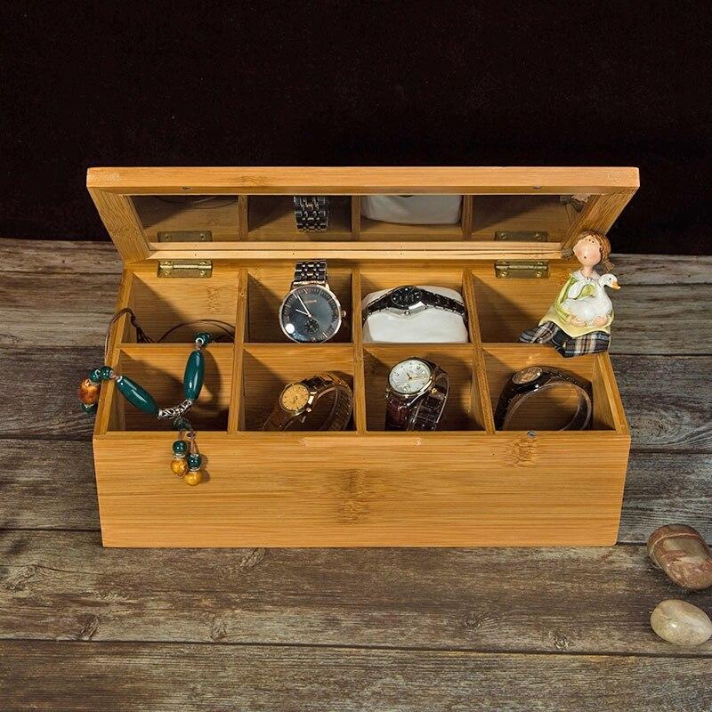 Boîte de rangement en bambou pour bijoux/cadeau/montre/thé 8 grilles maison organisateur boîte de rangement bijoux conteneur bureau articles divers conteneur