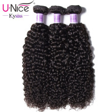 UNice Hair Kysiss Virgin Series Indian Curly Human Hair Weave 3 Bundles Unprocessed Virgin Human Hair Extensions Natural Color(China)