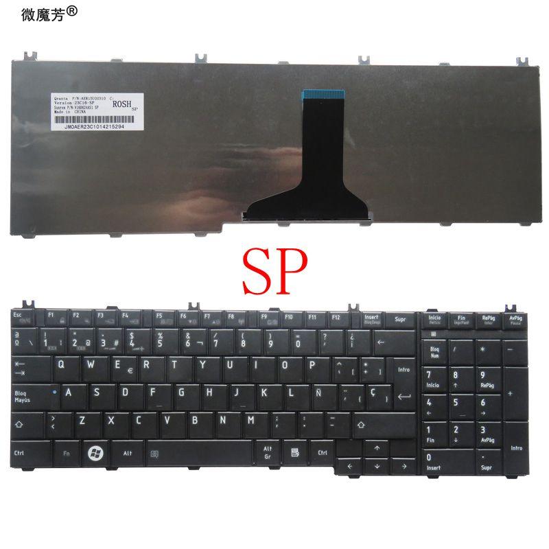 Испанская клавиатура для ноутбука Toshiba для Satellite C650 C655 C655D C660 C665 C670 L650 L655 L670 L675 L750 L755 SP Black