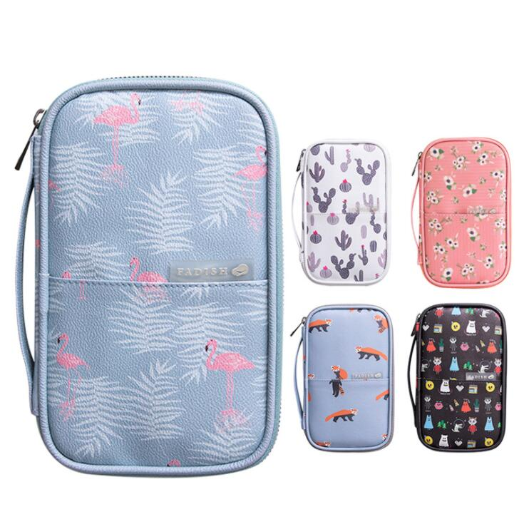 Kawaii Multifunctional Waterproof  PU A5 Document Organizer Bag Travel Passport Storage Handbag Protective Cover Stationery