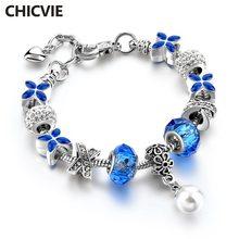 Chicvie синий Клевер и белый жемчуг пользовательские браслеты