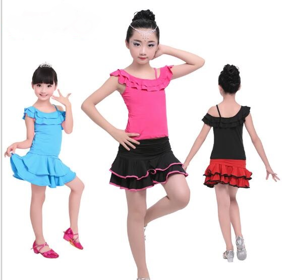 Hot Sale Cheap Girls Dew Shoulder Lotus Leaf Collar Dance Dresses Child Kid Performance Latin Skirt Suit Practice Dress