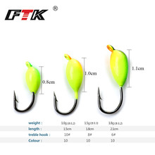 FTK 5Pcs 1g 1.5g 1.8g  Winter Ice Fishing Hook Bait Lead Head Lure Jig Bait For Fish