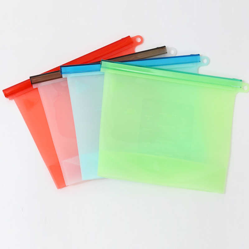 Silicone Food Storage Bags Reusable Fresh Bag Vacuum Sealer for Fruit Meat Milk Refrigerator microwave oven electric oven BDF99