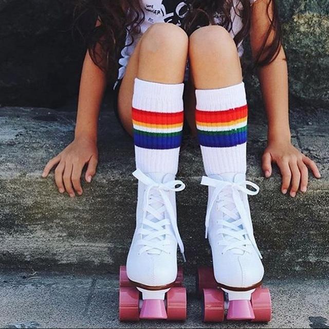 02cf44df281 Rainbow Kids Knee High Socks Cotton Long Student School Socks Girls Boys  Striped Socks White Family