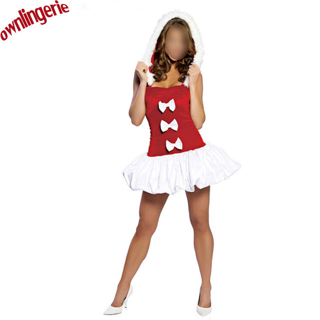 6e2d4b8098baa Aliexpress.com : Buy Red/White Christmas Costumes Women Sexy Santa Puff  Snowflake Velvet Holiday Dress Hooded Santa Claus Costume Free Shipping  from ...