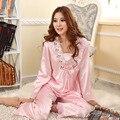 2017 New Womens Pajamas V-neck Bow Long Sleeve Suit Pajamas Imitation Charming Silk Pajama Suit Home Women's Sleep & Lounge
