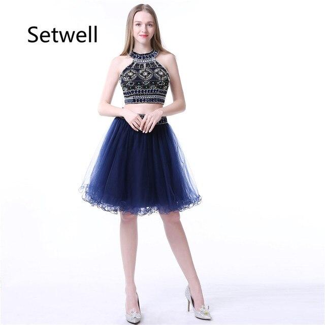 fc091134512 Setwell Date Courte Robes De Bal 2017 De Luxe O-cou Sequin Perles Deux  Pièces