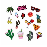 15PCs Mixed Iron On Patches For Clothing Embroidery Patch Summer Fabric Badge Stickers For Clothes Jeans Decoration