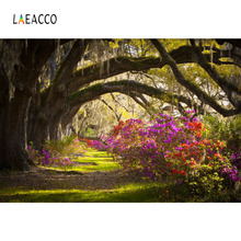 Laeacco Spring Old Trees Flowers Plants Landscape Photography Backgrounds Customized Photographic Backdrops For Photo Studio laeacco old steam train station landscape baby photo backgrounds customized digital photography backdrops for photo studio