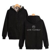 Bangtan Boys BTS Love Yourself Thick Hoodie Sweatshirts With Zipper Winter Warm Thickened Hoodies Zip Up