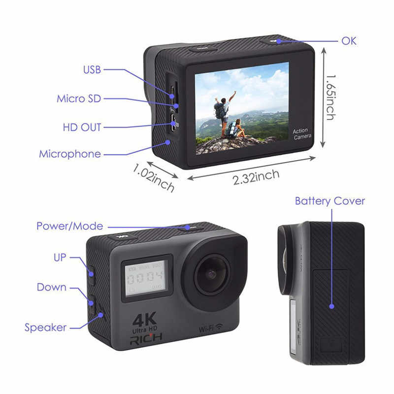 """4K عمل كاميرا 2.0 """"شاشة تعمل باللمس واي فاي شاشة مزدوجة 12MP كاميرا خوذة 30m DV 170 درجة زاوية واسعة عدسة كاميرا رياضية"""