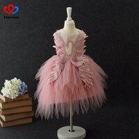 ピンク高級花ドレス用女の子白鳥の羽子供ページェントドレス誕生日衣装ボールガウンガールフォーマルイブニングドレスfrocks