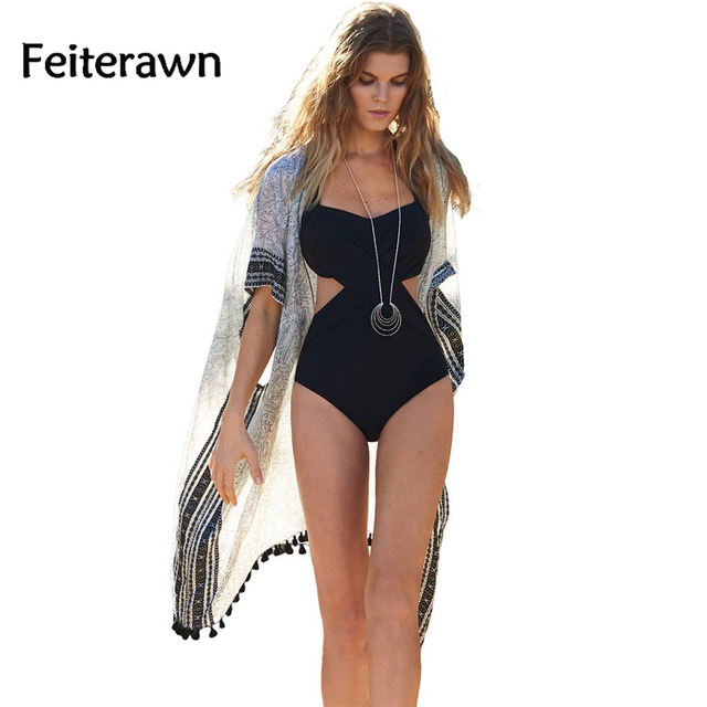 Feiterawn 2018 Summer Women Sexy Simple Print Tassel Detail Chiffon Kimono  Beachwear Dress M287 144c56241005