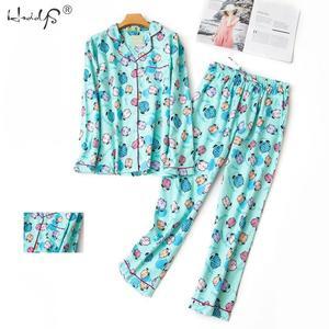 Image 2 - סתיו חורף ארוך שרוול פיג מה סטי נשים של כותנה קריקטורה הלבשת חמוד חתול Pyjama חליפת Femme מקרית Homewear 2 חתיכה סט