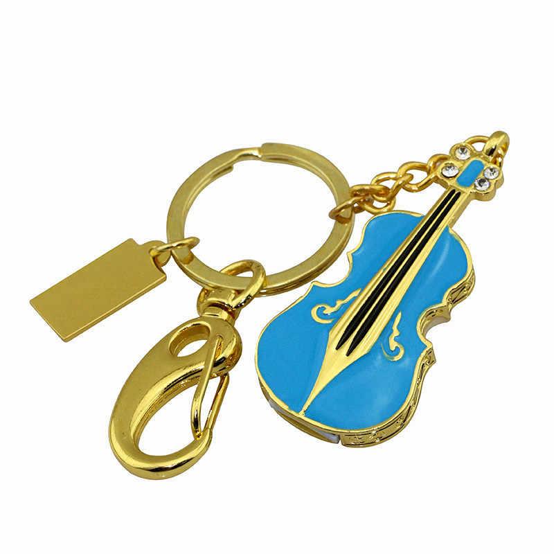 Instrument muzyczny diament gitara naszyjnik pamięć usb Metal skrzypce brelok pamięć usb 128GB pamięć pen drive