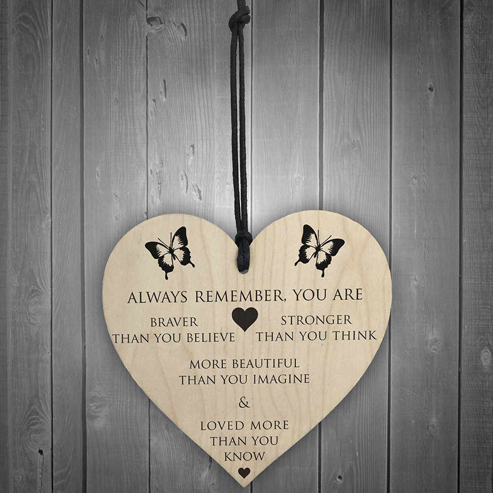 Love Heart Shape Wooden Hanging Ornament You Are Braver Stronger Smarter & Beautiful Heart Friends Nordic Style Home Decor #YL