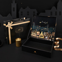 Fashionable city dream three-dimensional gift box Black retro business gift wedding souvenir Ins box formal dress Large gift box dream box