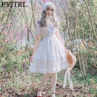 PYJTRL Sweet Short Sleeve Lace Summer Party Big Swing Cosplay Lolita Princess Dress
