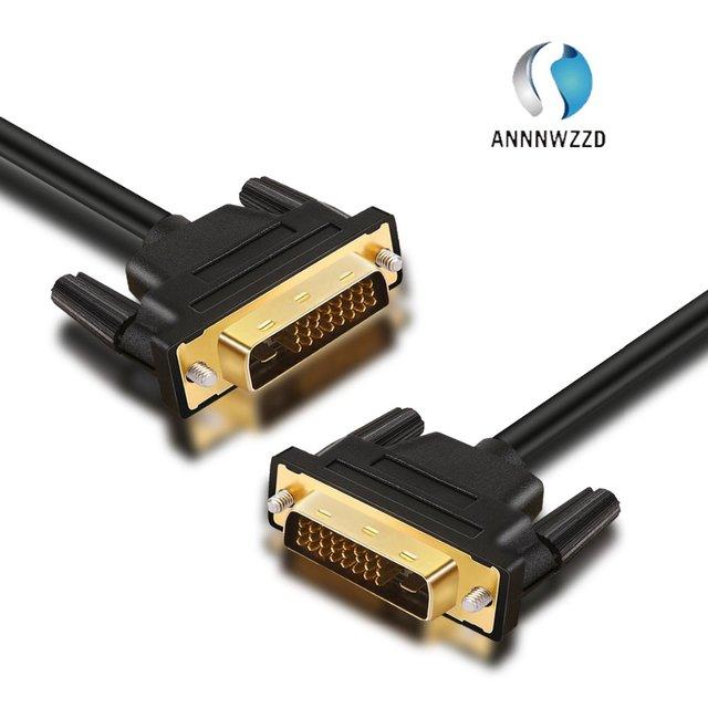 ANNNWZZD DVI kablo DVI erkek DVI DVI D 24 + 1 erkek altın kaplama erkek erkek 1 M 2m 3m 5M TV projektör monitör çift bağlantı kablosu