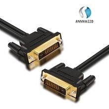 Annwzzd Cable DVI Macho a DVI 24 + 1 macho chapado en oro, macho a macho, 1 M, 2m, 3m, 5M para Monitor de proyector de TV, Cable de enlace Dual