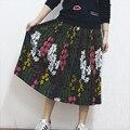 2017 Mujeres de Moda Elegante Estilo Bohemio Falda Floral Patrón de Impresión de Alta Cintura Elástico Tutu Falda Plisada Alta Calidad