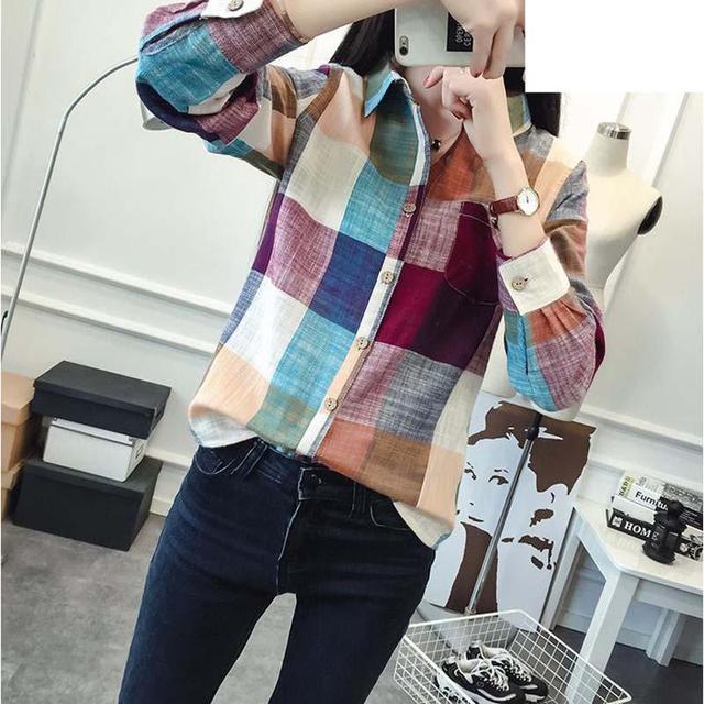 2017 Hot Sale  Plaid Shirt Women Slim Outerwear Ladies Female Casual Cotton Long SleeveTops Blusas Size Chemise Femme