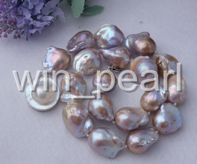 20x23mm purple Nucleated Flameball pearl Necklace -mabe clasp