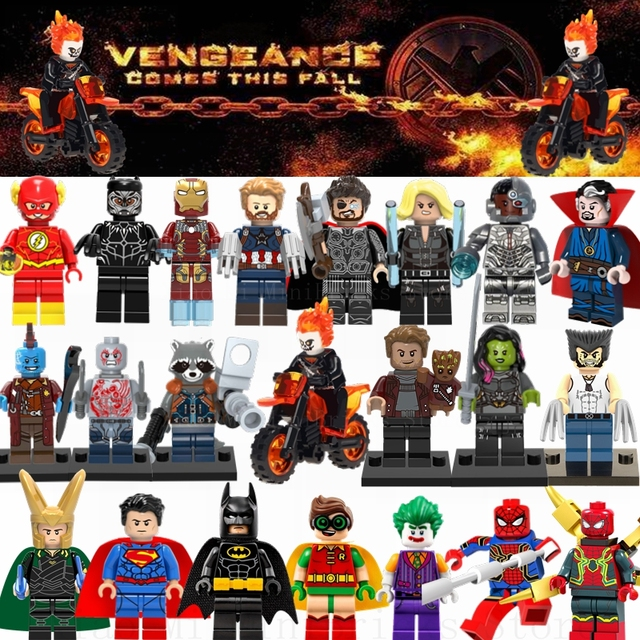 Single Sale WM298 Ghost Rider With Motorcycle Legoing Marvel Avengers Super Heroes Building Blocks Toys for Children Figures