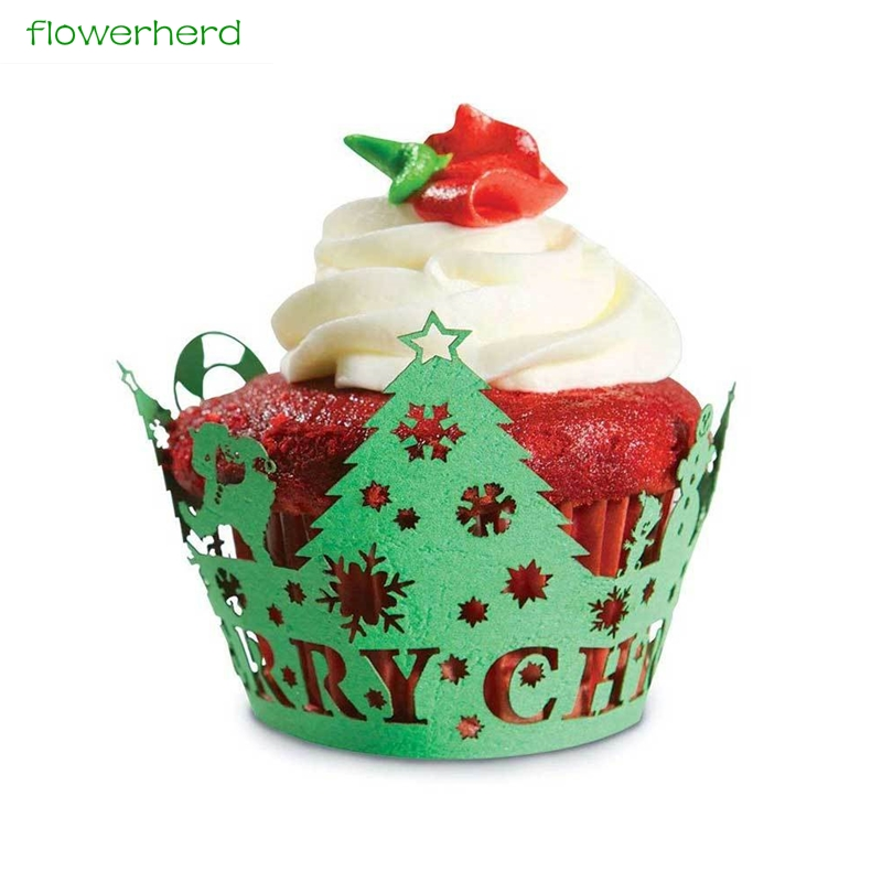 Christmas Tree Muffins: 50pcs Christmas Tree Cupcake Wrappers, Cupcake Muffin