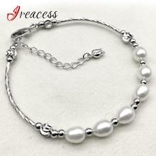 a7daa97c0773 Nueva moda Real Natural de agua dulce perlas pulseras para las mujeres 100%  perlas oro pulseras y brazaletes joyería