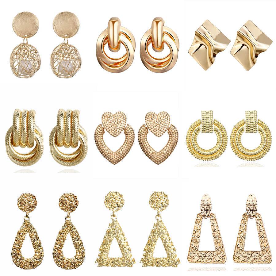 2019 Vintage kolczyki duże dla kobiet kreatywne kolczyki geometryczne złoto wisiorek metalowy kolczyki Trend biżuteria