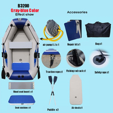 0.7MM PVC Inflatable Boat Dinghy Fishing Rowing Boat For Drifting Sufing With Aluminum Oars and Air Pump  2-3/3-4/4-5 Person