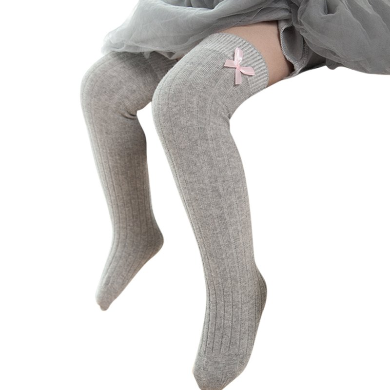 Spring Girls Tights Kids Bow Tights For Girls Baby Elastic Waist Knitted Stitching Pantyhose Stocking Cotton White