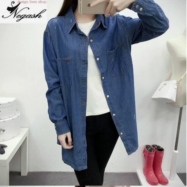 0e7cd972e92 3XL plus size 2016 new fashion denim shirt women s long sleeve denim Cotton  denim shirts female