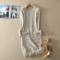 Free Shipping Kashana Women S Long Sleeve Solid Color Tassel Decor 100 Cashmere Knitted Cardigan