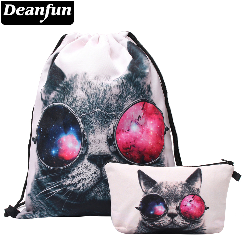 Deanfun 3D Printed Drawstring Bag Cat Wearing Glasses Fashion Women Travelling Storage 022