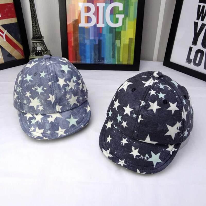 Kids Summer Baseball Cap Star Retro Printed Cotton Visor Hat Boys Girls Sun  Caps 277b2b0f4631