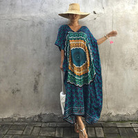 Beach Dress Kaftan Ethnic Cotton Rayon Maxi Dress Women Vintage V Neck Tunic Boho Casual Printed