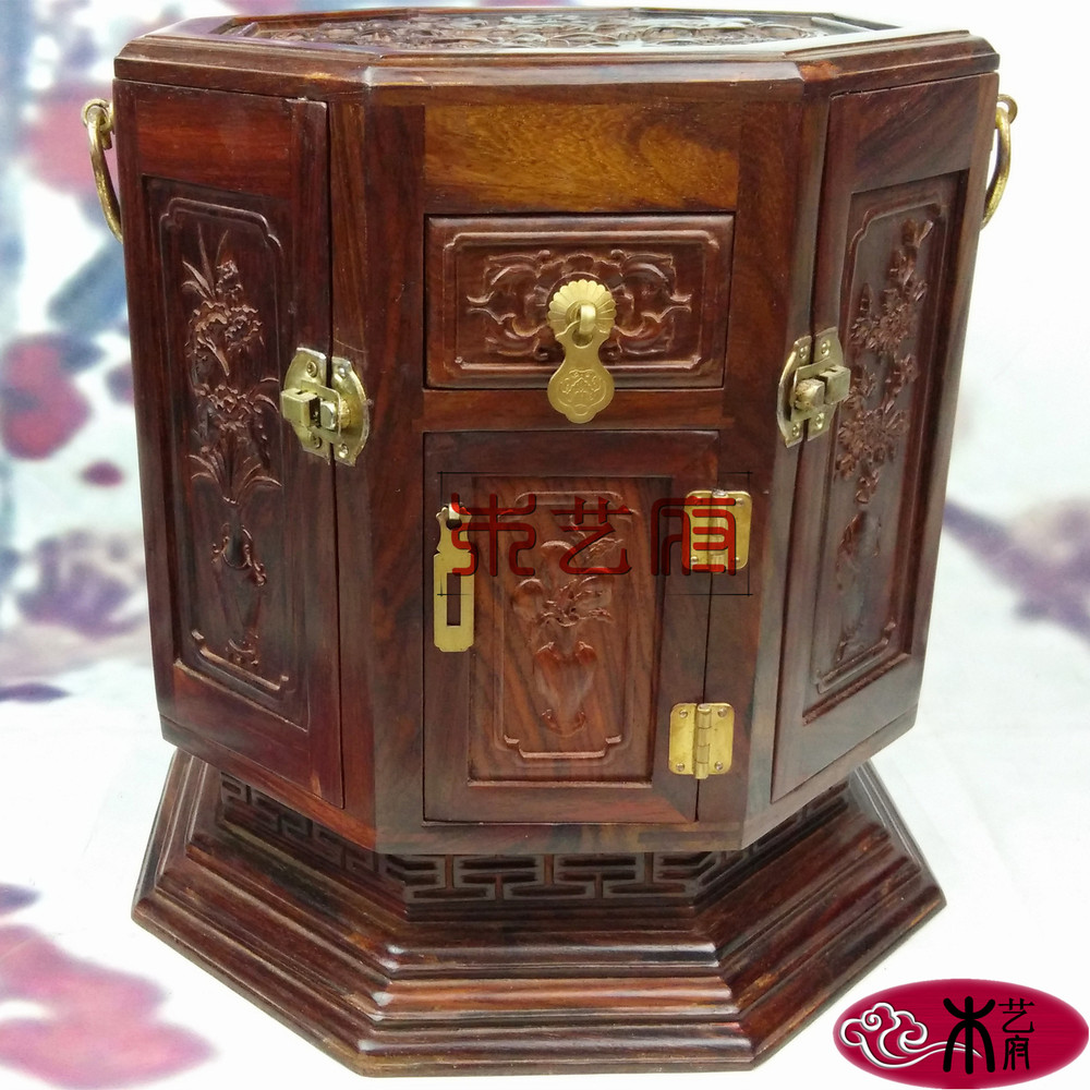 Government Rosewood Wooden octagonal rotating mirror box jewelry box jewelry box red wood carving housewarming