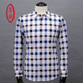 DINGTONG Mens Spring High Quality Brand Cotton Silk Shirts Man Fashion Plaid Business Casual Long-sleeve Button Closure Shirt
