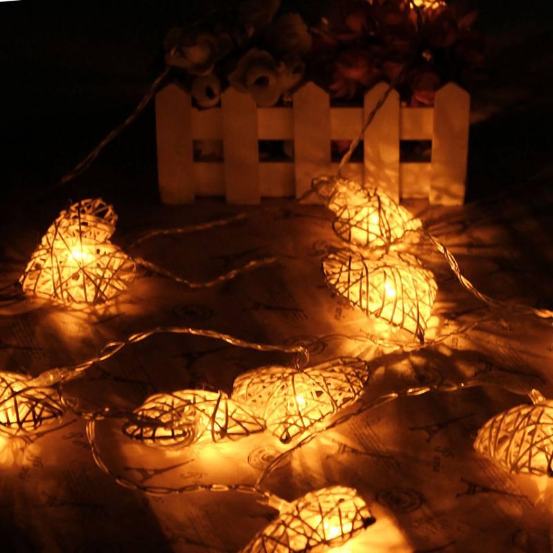 1,8 Mt Rattan 10 LED String Licht Batteriebetriebene Herzförmige Led Fairy Light Outdoor Garten Hochzeit Weihnachten Decor