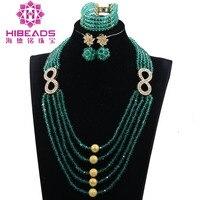 חרוזים טורקיז ירוק אופנה תכשיטי סטי 8 אבזר מסיבת החתונה זהב בצורת תכשיט נשים להגדיר מתנת היום האם WE029