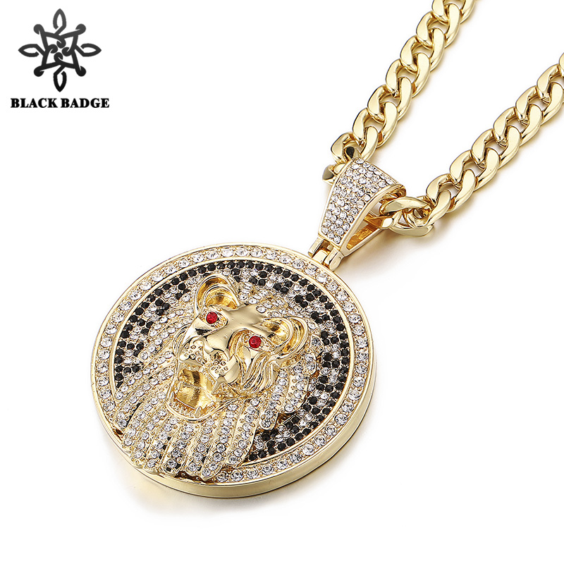 Hip Hop Jewelry Lion Head Circular Plate Fashion Pendant Iced Out Crystal Charm Necklace Men Steel Titanium Chain Stainless jakemy multitool jm 6101 magnetic ratchet screwdriver set home repair kit mobile phone tool for iphone laptop electronic tools