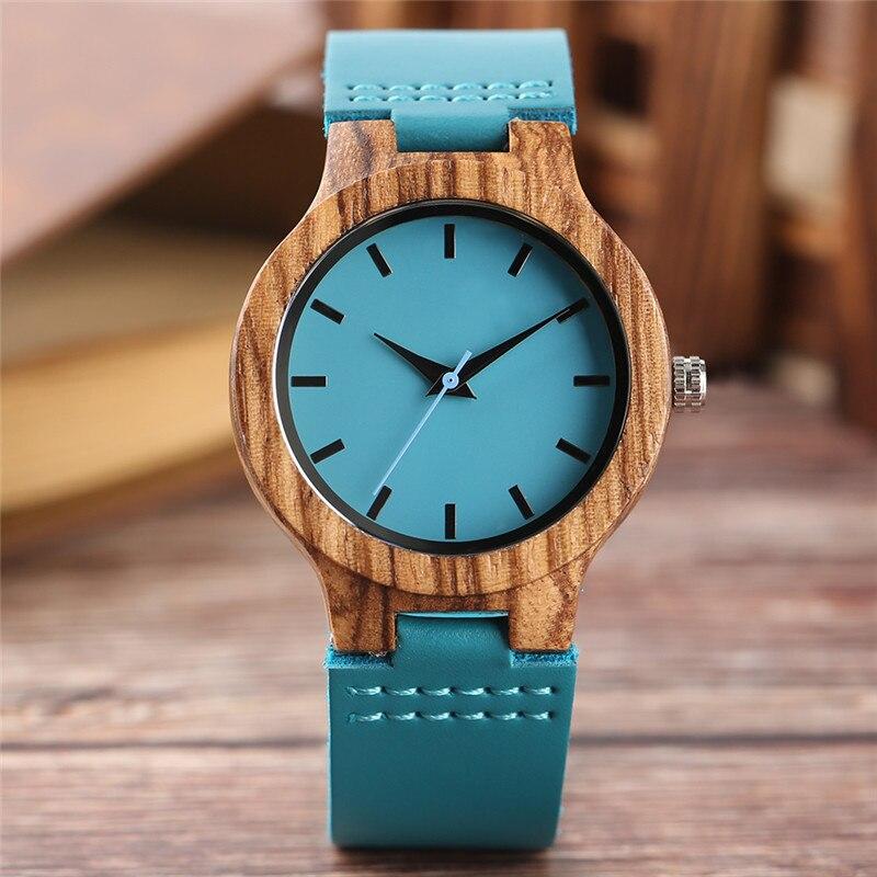 56afe81282b ... Presente de Moda Top de Nova Mulheres Relógios Madeira Minimalista  Brilhante Azul Casual Couro Quartz Feminino Relógio Reloj Madera Bambu  Natural ...
