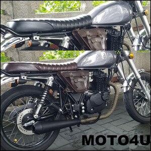 MOTO4U Hump Vintage Saddle Universal Cafe Racer Seat for SuzuKi GS Yamah XJ Honda Black/Browen